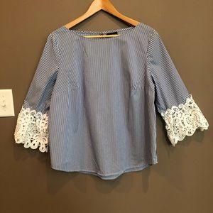 Liz Claiborne Blue Stripe Lace Bell Sleeve Top L